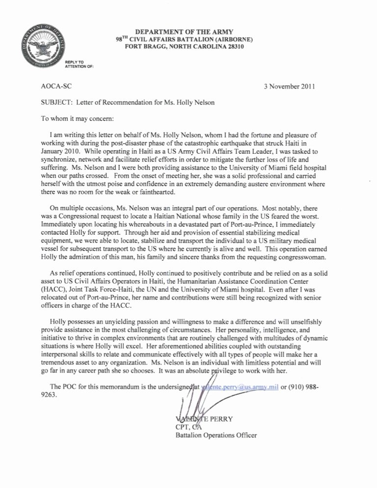 Warrant Officer Letter Of Recommendation Inspirational Holly Nelson Us Army Civil Affairs Lor
