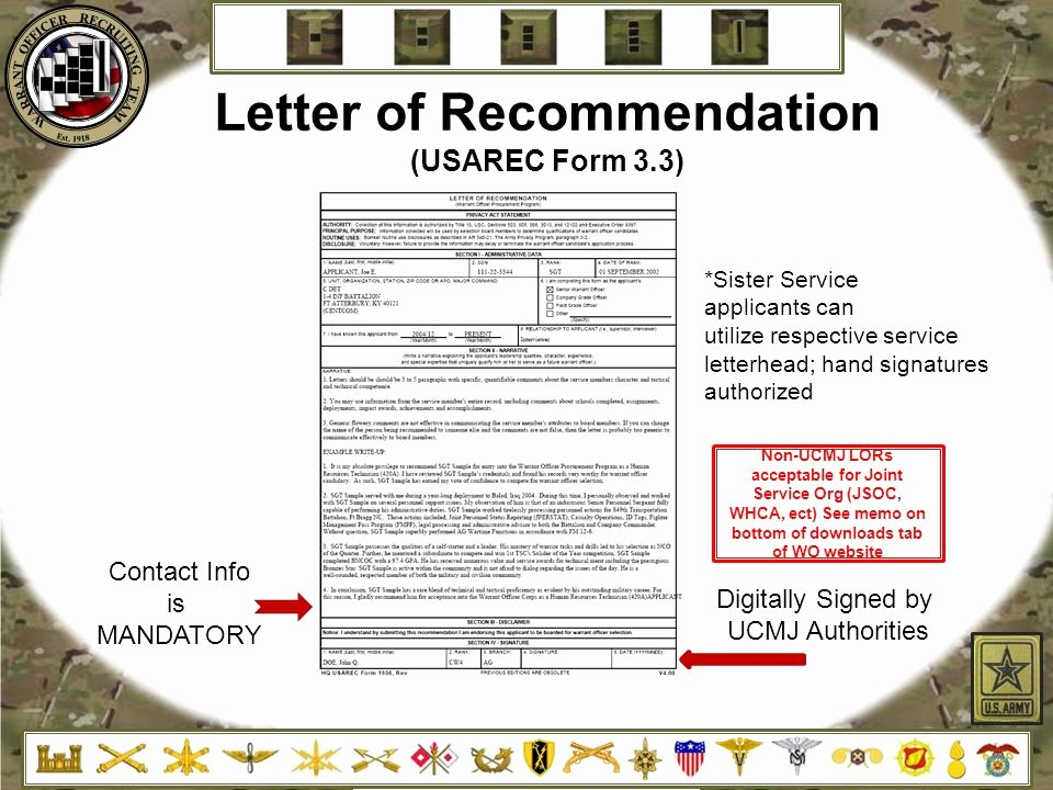 Warrant Officer Letter Of Recommendation Lovely Warrant Ficer Recruiting Brief Ppt Video Online