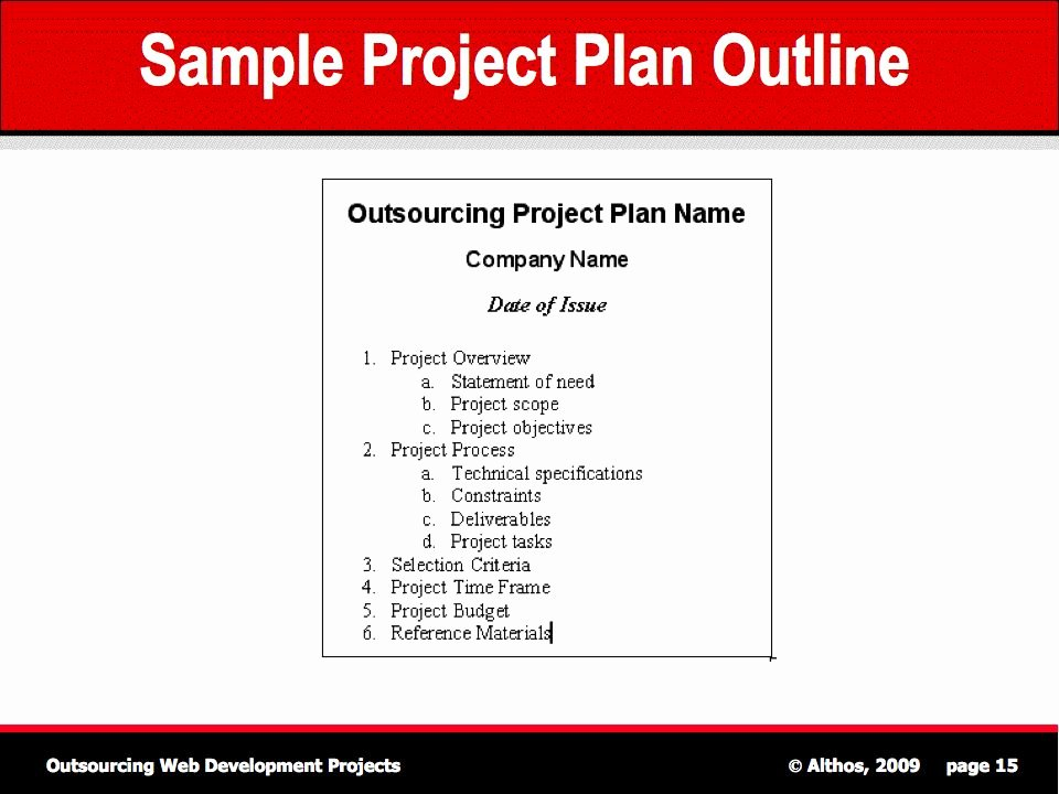 Website Development Project Plan Template Fresh Outsourcing Tutorial Sample Project Plan Outline