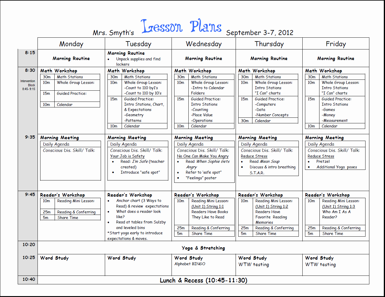 Week Lesson Plan Template Beautiful First Week Lesson Plans First Grade