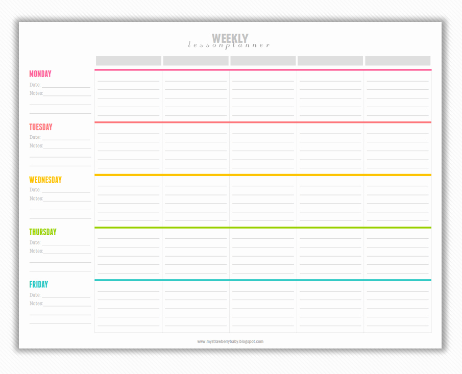 Week Lesson Plan Template Best Of My Strawberry Baby Free Printable Weekly Lesson Plan