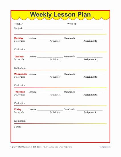Week Lesson Plan Template Fresh Weekly Detailed Lesson Plan Template Elementary