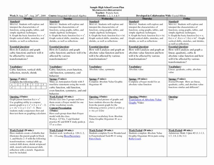 Week Lesson Plan Template New Math Lesson Plan Template High Schoolsample Hs Math Weekly