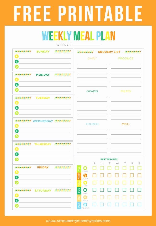 Weekly Food Plan Template Elegant Free Printable Weekly Meal Planner Printable Crush