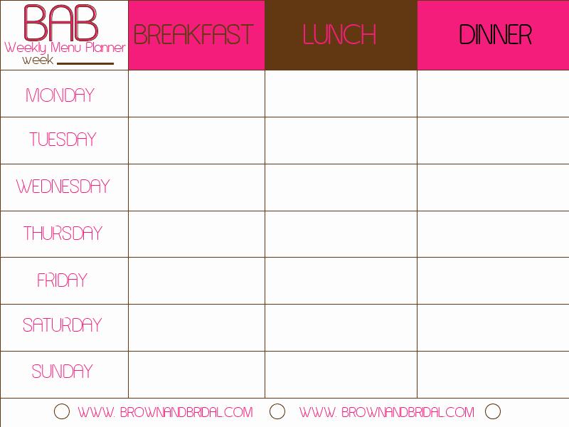 Weekly Food Plan Template Elegant Weekly Menu Template