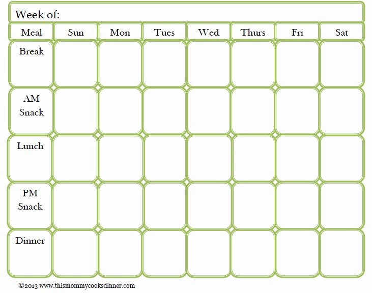 Weekly Food Plan Template Lovely Weekly Meal Planner Template with Snacks