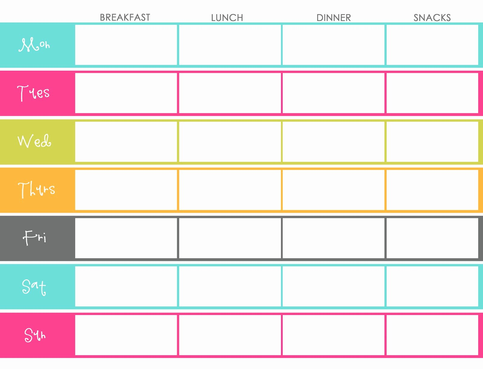 Weekly Food Plan Template Luxury Little Housewife Meal Planning