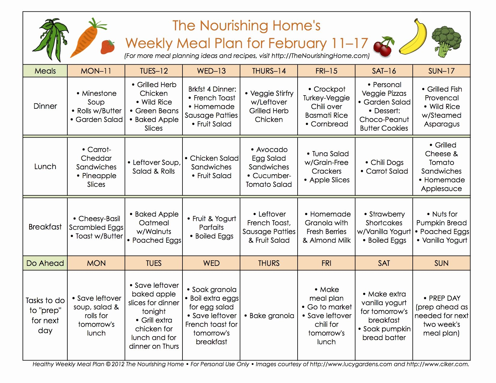 Weekly Food Plan Template Luxury Meal Plan Monday February 4–17 the Nourishing Home