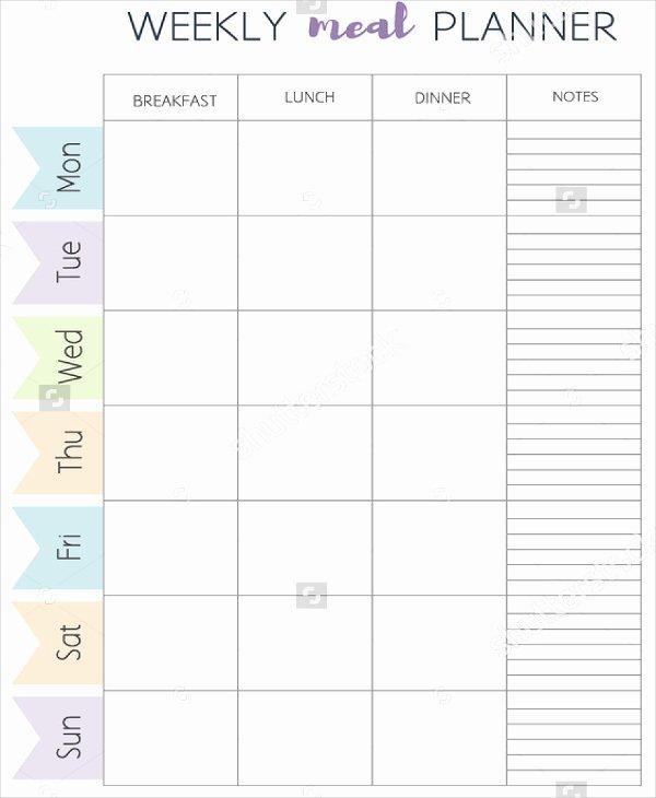 Weekly Food Plan Template Luxury Meal Planner Template Word