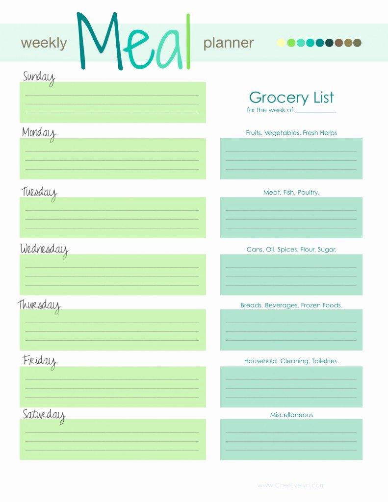 Weekly Food Plan Template Luxury Weekly Menu Template