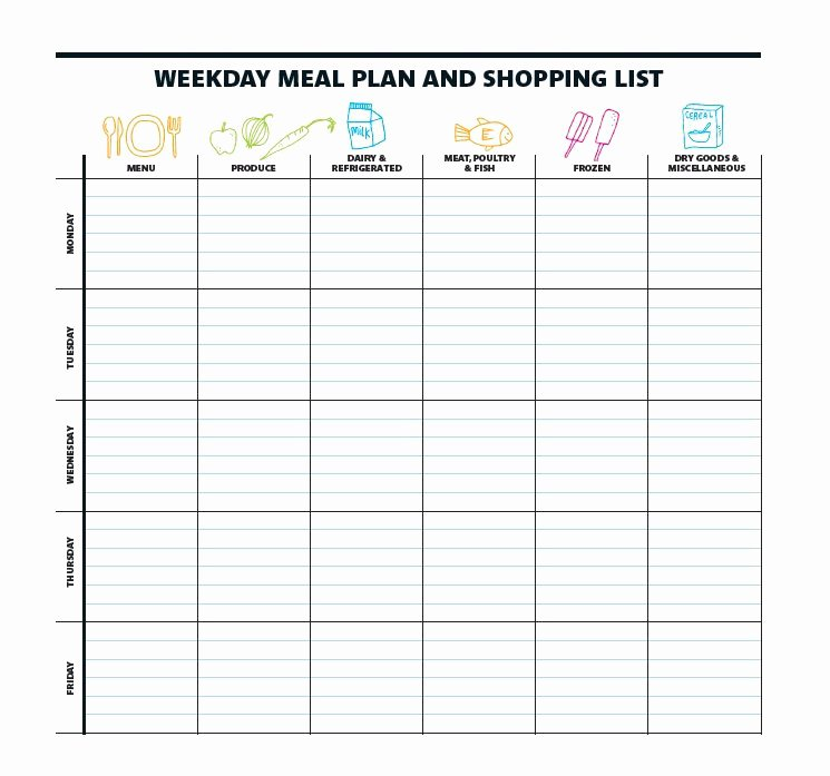 Weekly Food Plan Template Unique 40 Weekly Meal Planning Templates Template Lab