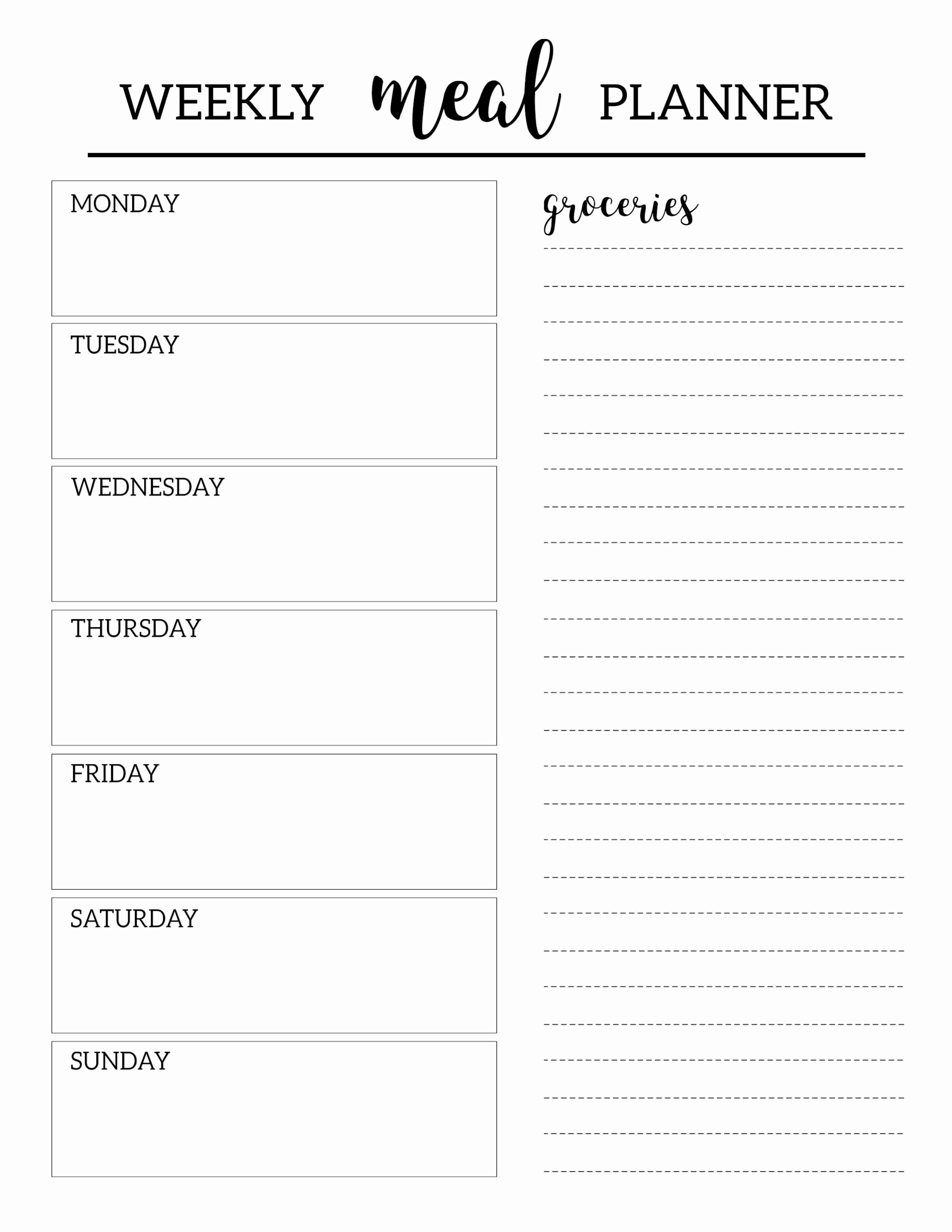 Weekly Food Plan Template Unique Free Printable Meal Planner Template Paper Trail Design