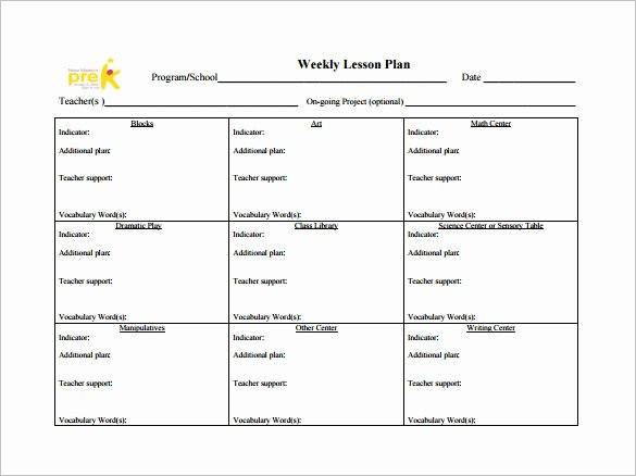 Weekly Lesson Plan Template Beautiful Weekly Lesson Plan Template 8 Free Word Excel Pdf