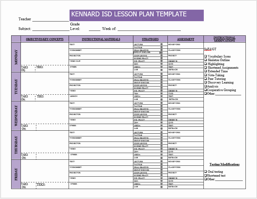 Weekly Lesson Plan Template Best Of Weekly Lesson Plan Templates 2 Free Templates Word