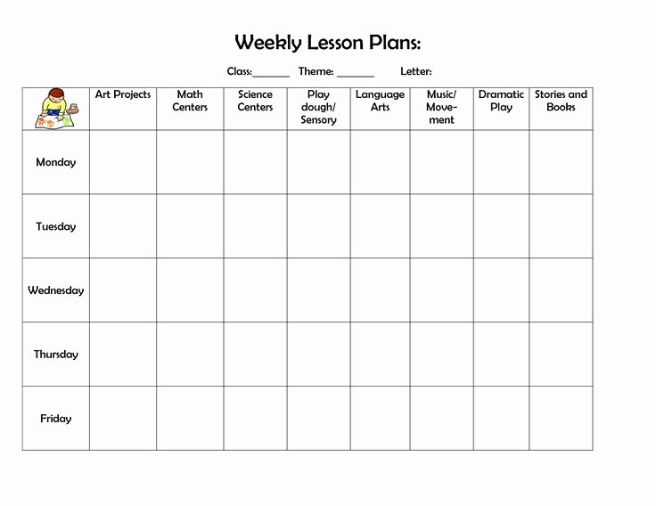 Weekly Lesson Plan Template Doc New Infant Blank Lesson Plan Sheets