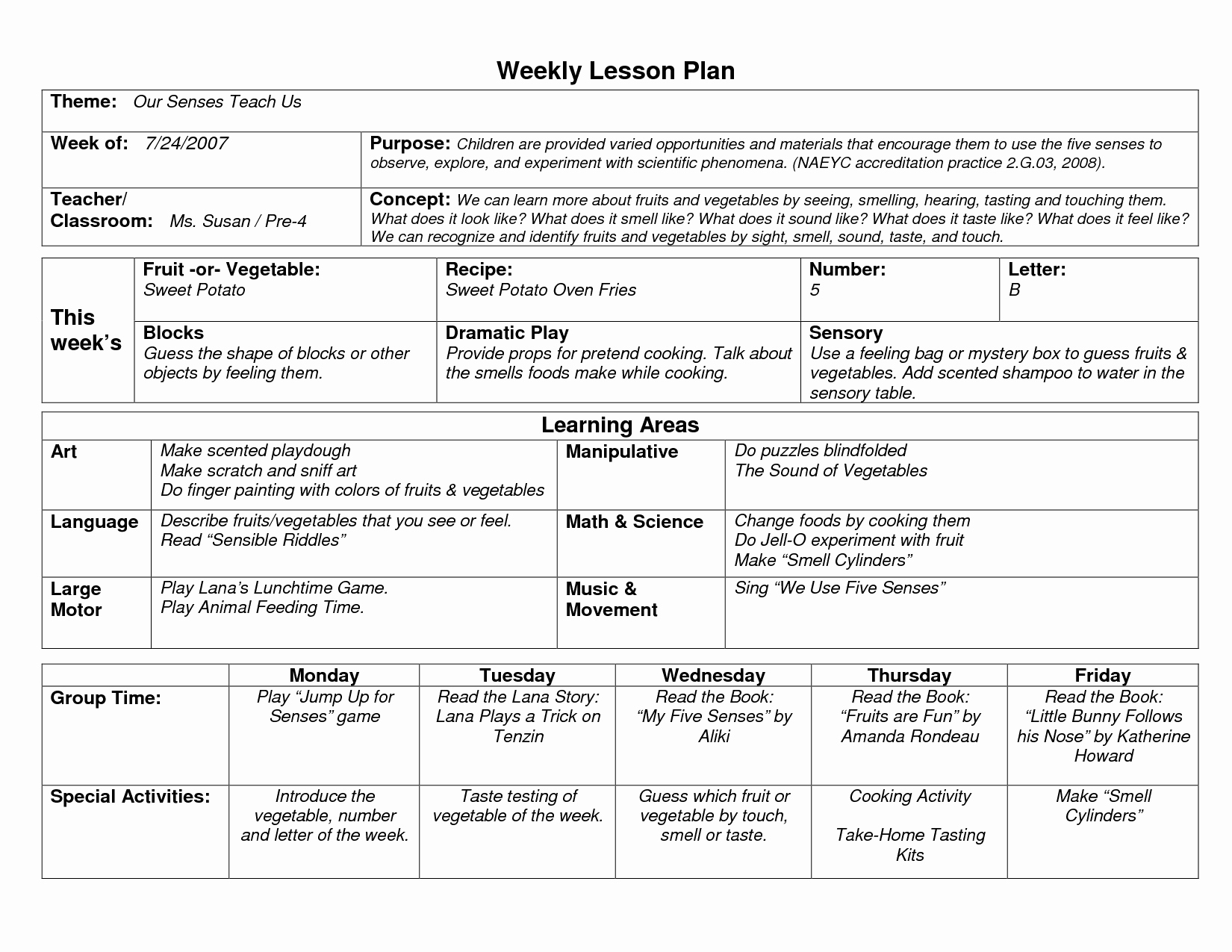 Weekly Lesson Plan Template Elegant Naeyc Lesson Plan Template for Preschool