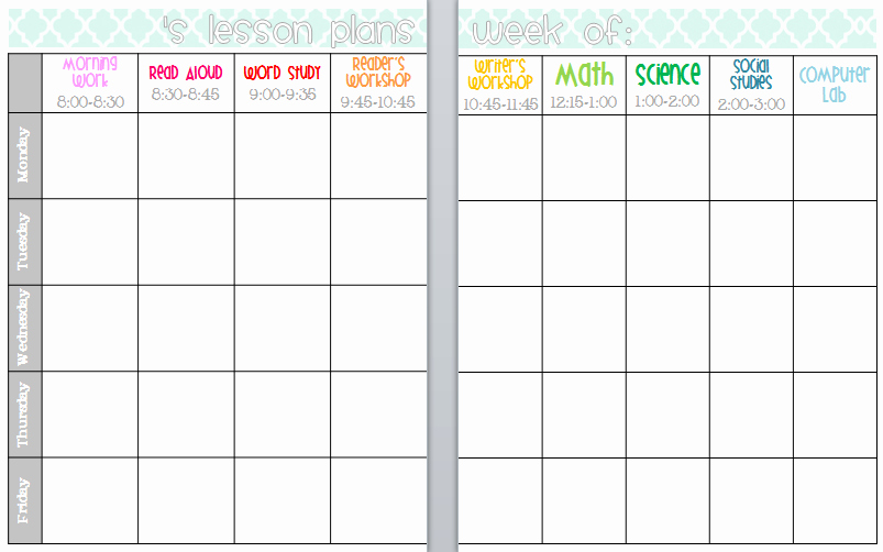 Weekly Lesson Plan Template Elementary Awesome Elementary organization Two Updated Lesson Plan Templates