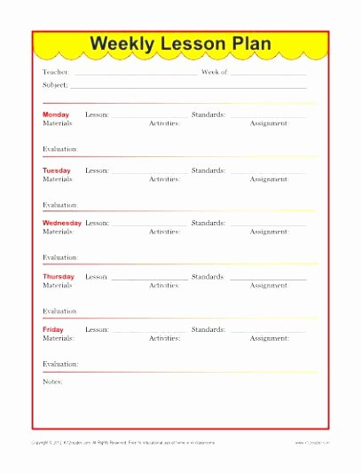 weekly lesson plan templates for elementary teachers