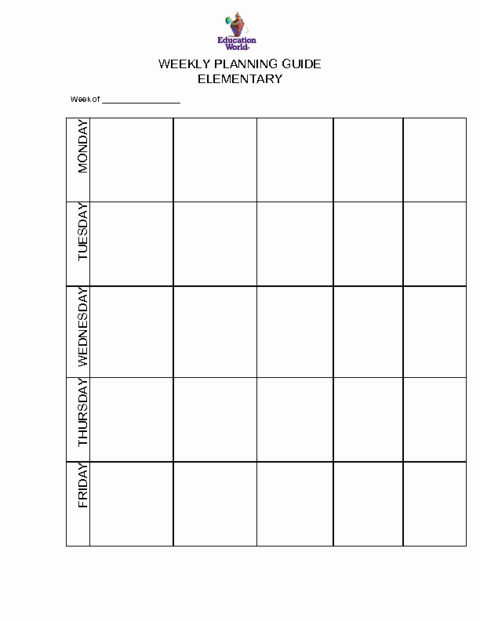 Weekly Lesson Plan Template Elementary Elegant Elementary Weekly Planning Guide Template