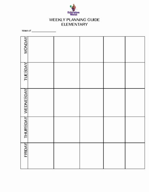 Weekly Lesson Plan Template Elementary Elegant Elementary Weekly Planning Guide Template