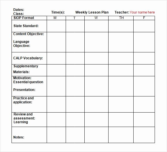 Weekly Lesson Plan Template Elementary Lovely 9 Sample Weekly Lesson Plans