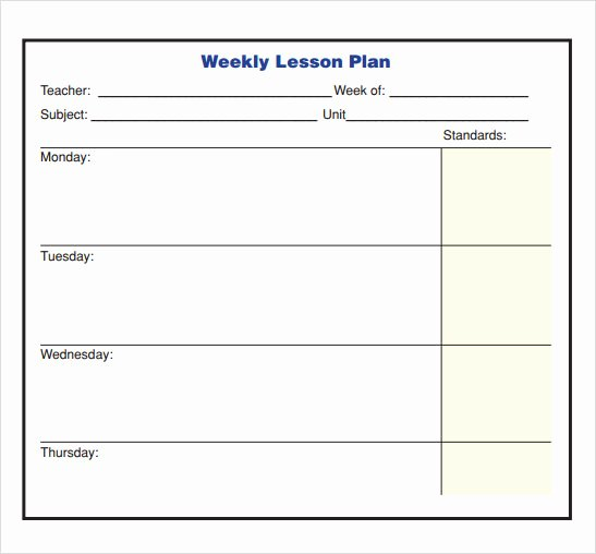 Weekly Lesson Plan Template Elementary Unique 10 Sample Lesson Plans