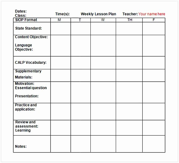 Weekly Lesson Plan Template Elementary Unique Weekly Lesson Plan Template Word