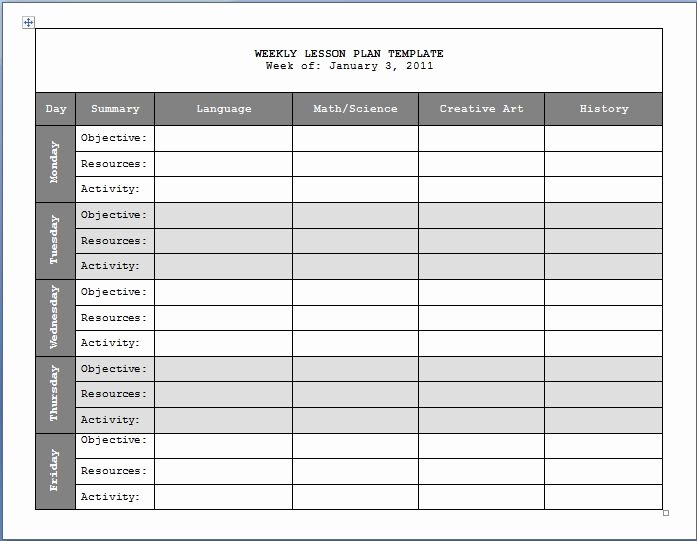 Weekly Lesson Plan Template New 17 Best Images About Lesson Plan Templates On Pinterest