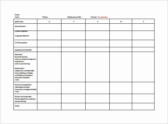 Weekly Lesson Plan Template Pdf Lovely Teacher Lesson Plan Template 8 Free Sample Example