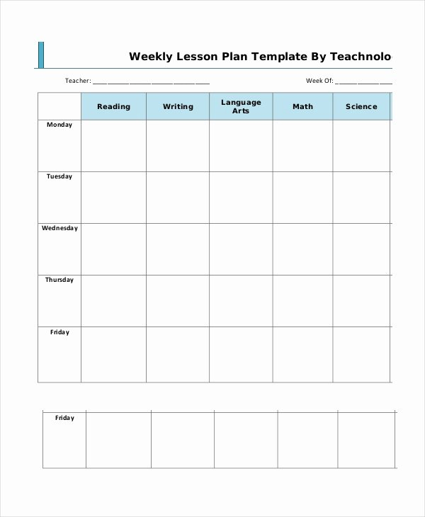 Weekly Lesson Plan Template Pdf Unique Lesson Plan Template 14 Free Word Pdf Documents