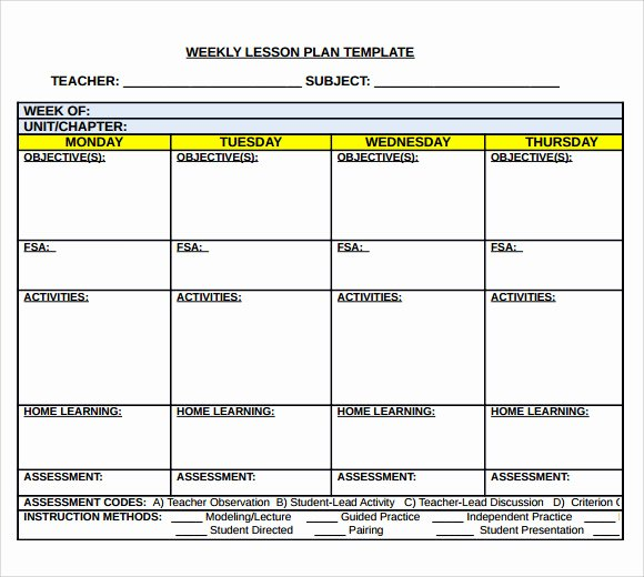 Weekly Lesson Plan Template Word Elegant Sample Middle School Lesson Plan Template 7 Free