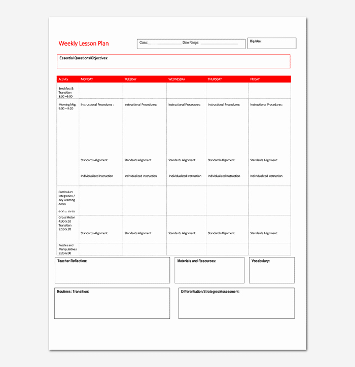 Weekly Lesson Plan Template Word Unique Lesson Plan Template 5 Daily Weekly Monthly for Word