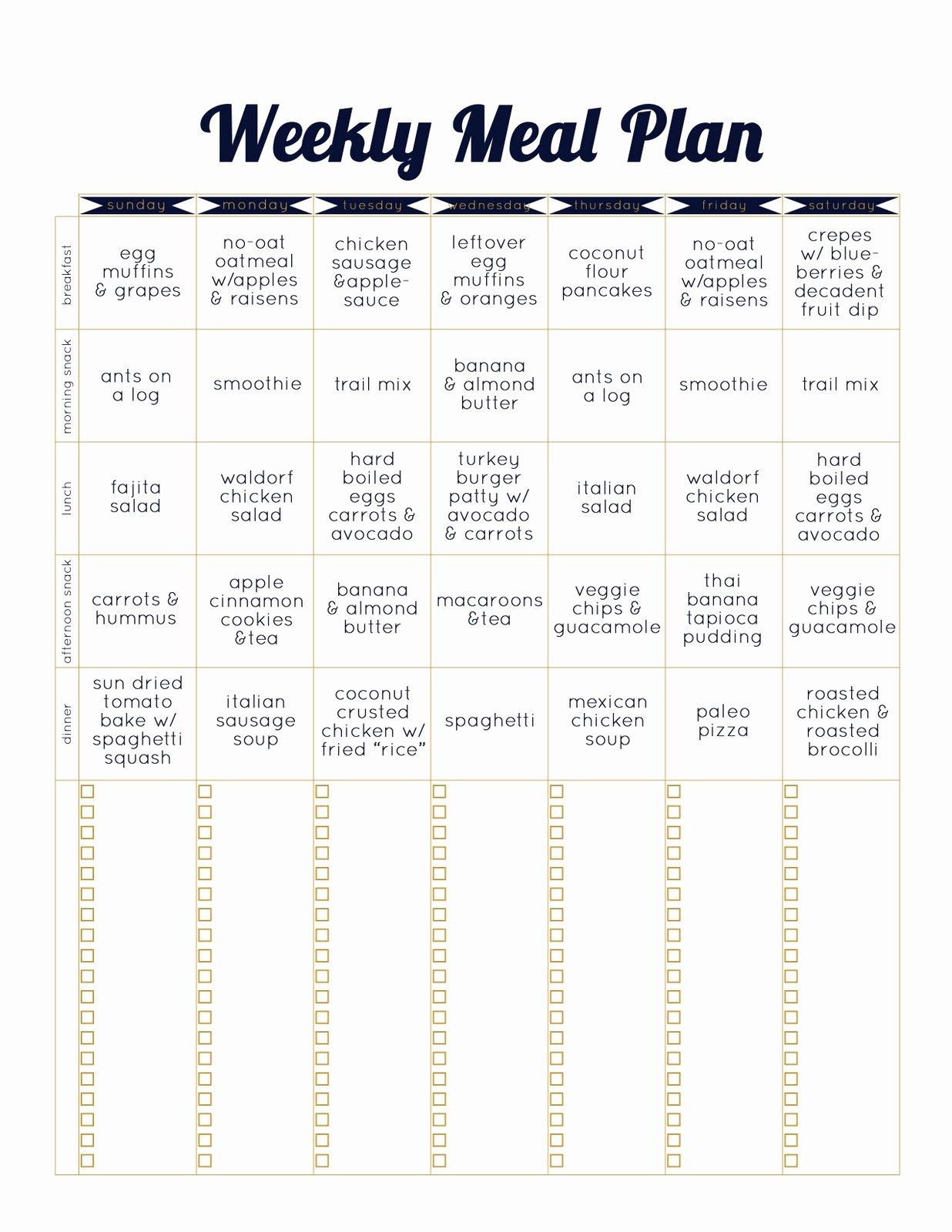 Weekly Meal Plan Template Beautiful Always Underfoot Paleo Template Weekly Meal Plan