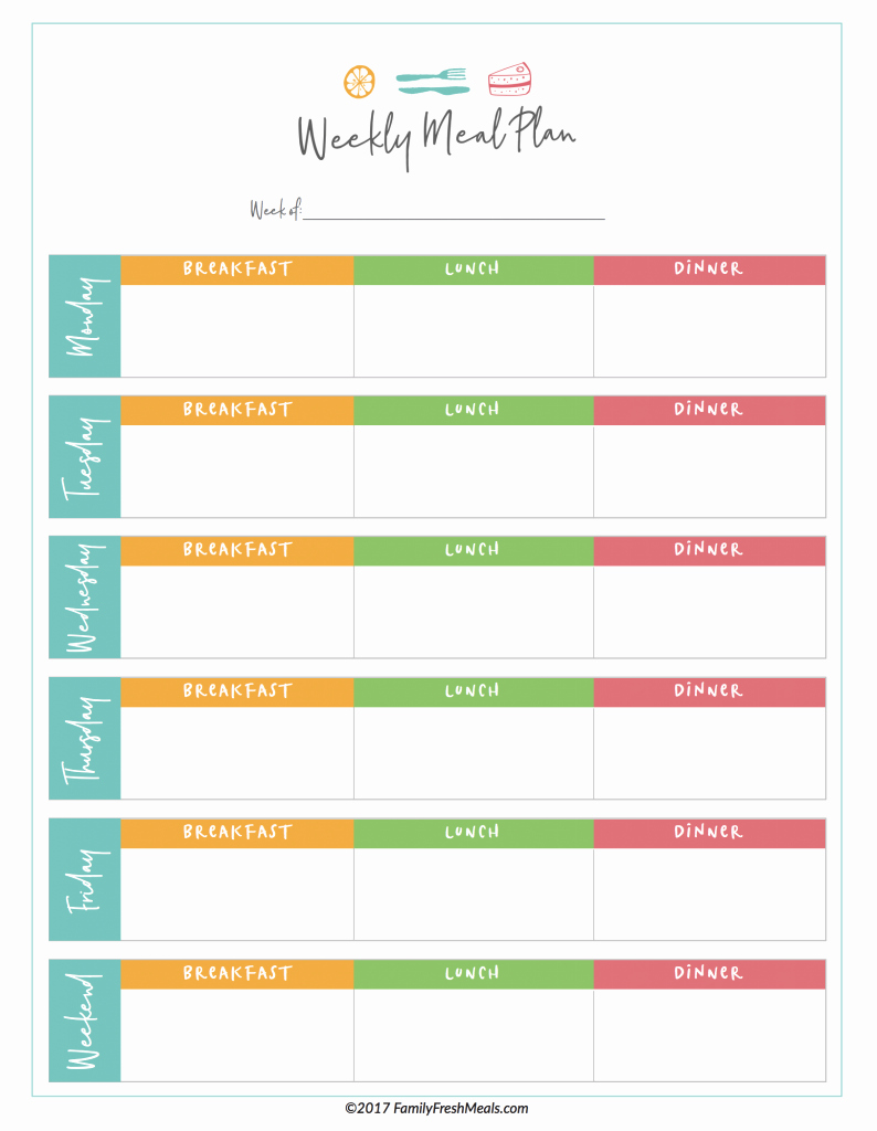 Weekly Meal Plan Template Beautiful Free Meal Plan Printables Family Fresh Meals