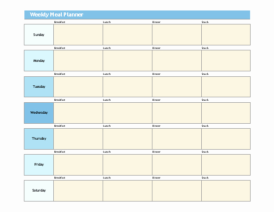 Weekly Meal Plan Template Excel Awesome Simple Meal Planner