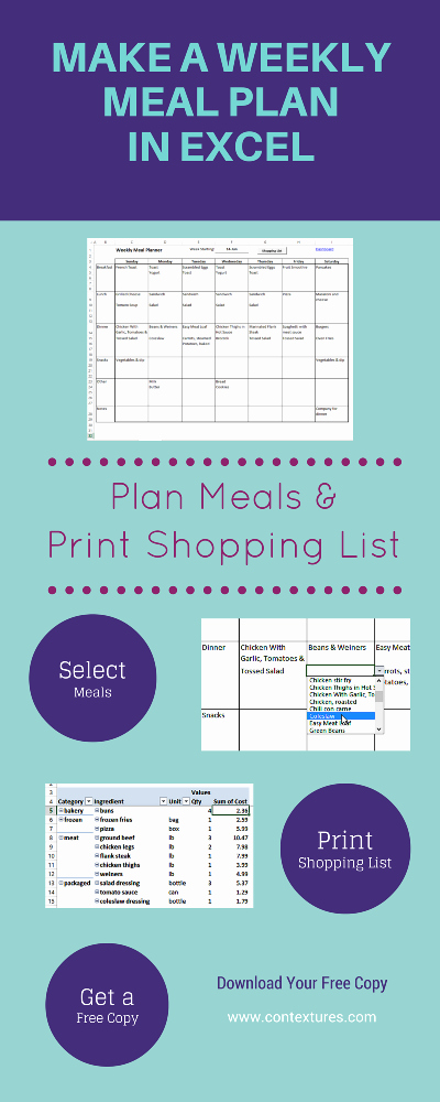 Weekly Meal Plan Template Excel Beautiful Excel Weekly Meal Planner