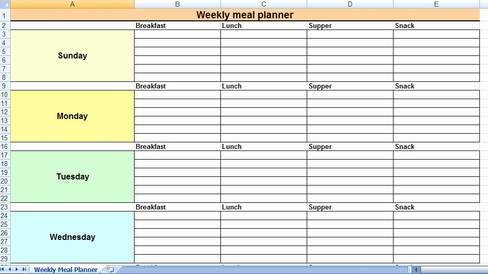 Weekly Meal Plan Template Excel Best Of Excel Most Effective Uses at Home and for Families