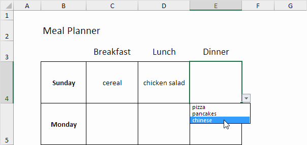 Weekly Meal Plan Template Excel Best Of Meal Planner Template In Excel Easy Excel Tutorial