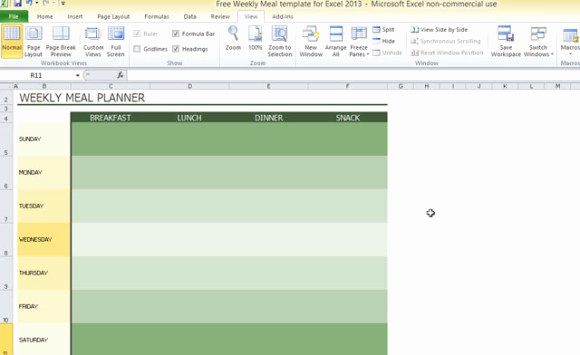 Weekly Meal Plan Template Excel Elegant Free Weekly Meal Template for Excel 2013