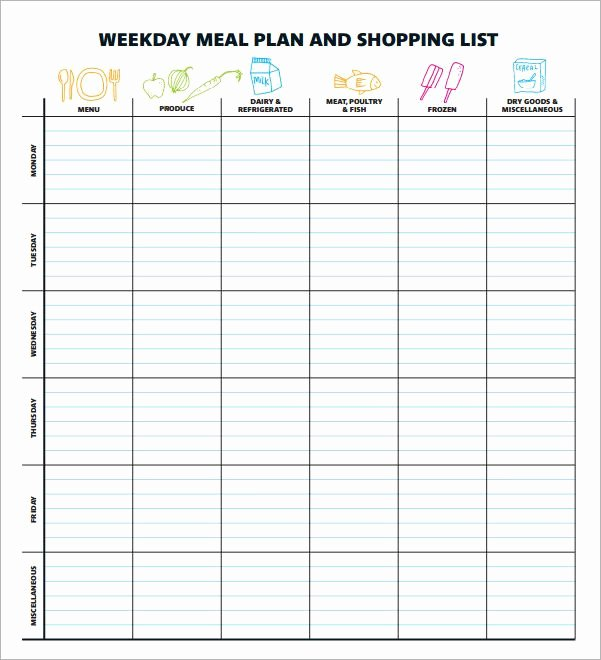 Weekly Meal Plan Template Excel New Meal Planning Template 17 Download Free Documents In Pdf