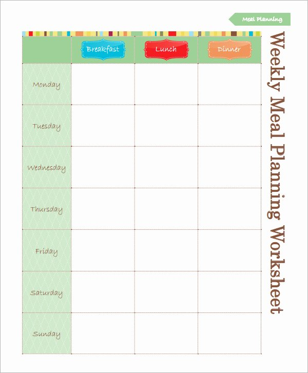 Weekly Meal Plan Template Excel Unique 18 Meal Planning Templates Pdf Excel Word