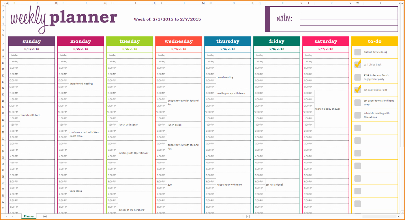 Weekly Meal Plan Template Excel Unique 5 Weekly Planner Template Excel