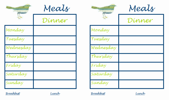Weekly Meal Plan Template Fresh 40 Recipe Card Template and Free Printables – Tip Junkie