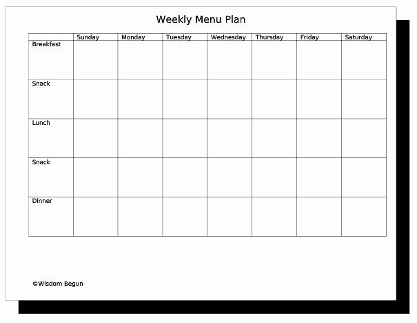 Weekly Meal Plan Template Fresh Weekly Menu Template
