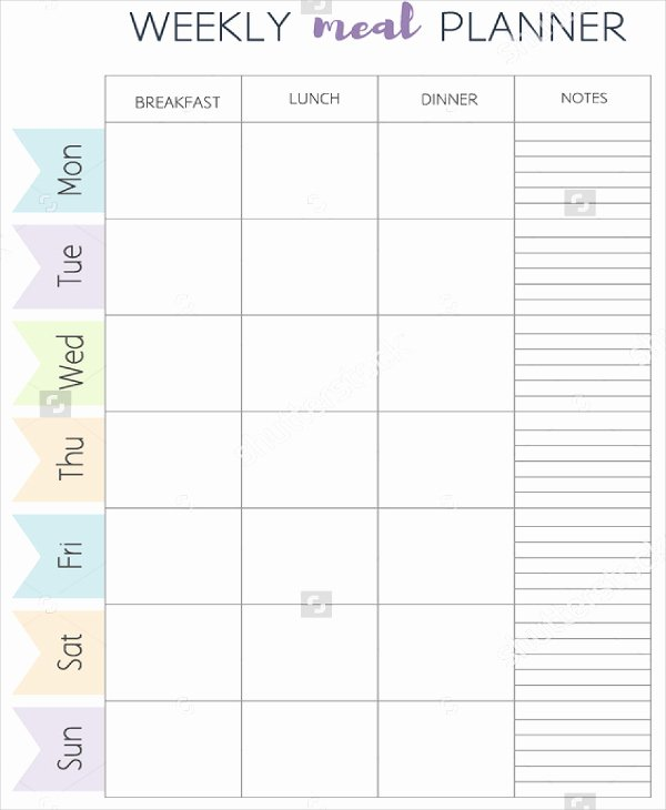 Weekly Meal Plan Template New Meal Planner Template Word