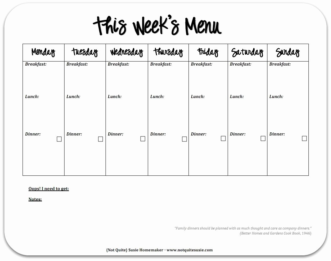 Weekly Meal Plan Template Unique Free Printable Weekly Meal Planner Not Quite Susie