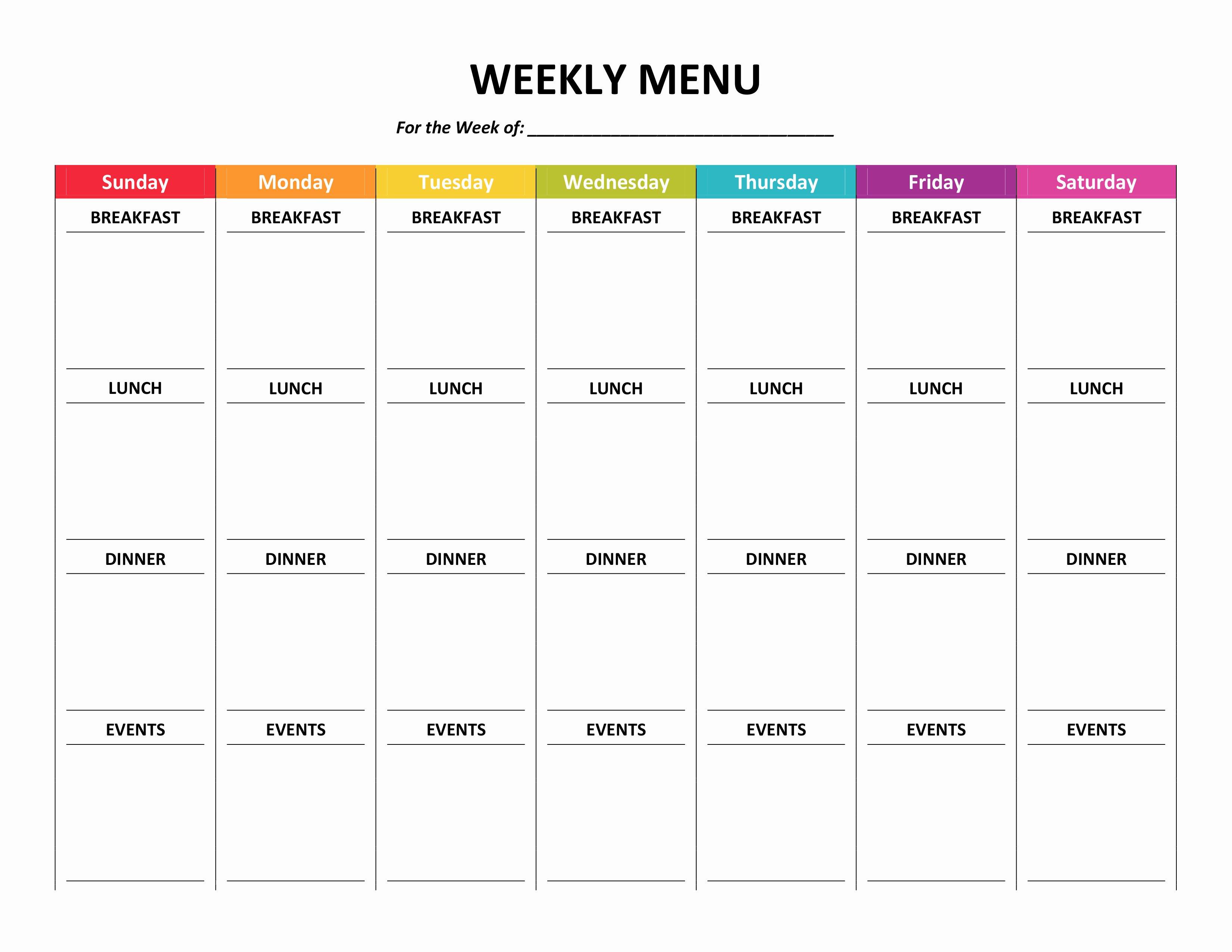 Weekly Meal Plan Template Word Elegant Menu Planner
