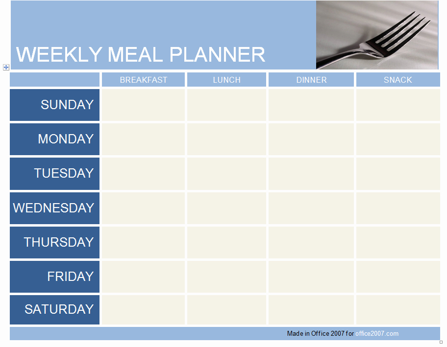 Weekly Meal Plan Template Word Fresh Weekly Meal Planner Template