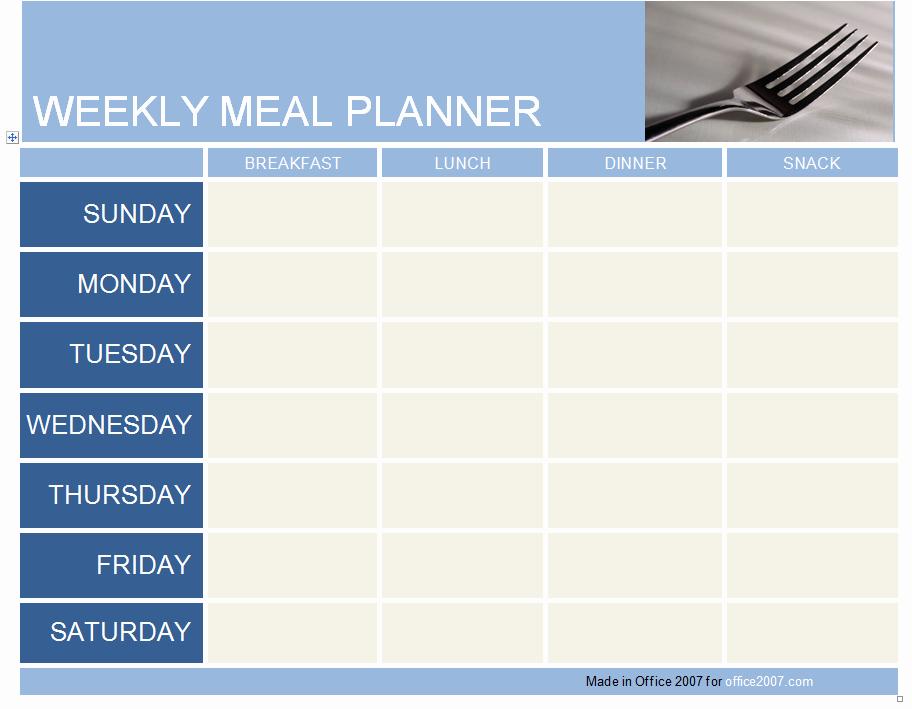 Weekly Meal Plan Template Word Fresh Weekly Meal Planner Template