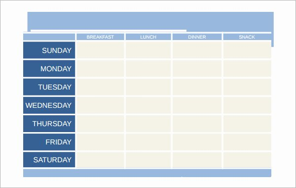 Weekly Meal Plan Template Word Inspirational 18 Meal Planning Templates Pdf Excel Word